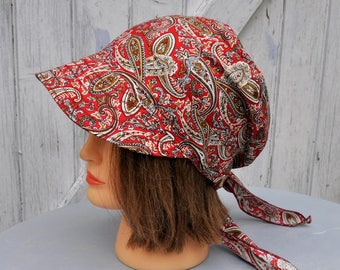 Bandana headscarf, hat, scarf preformed red cotton Tan and cream Paisley print with visor, one size fits