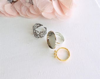cabochon ring, plateau ring, silver ring, shelf ring 20 mm, filigree ring,