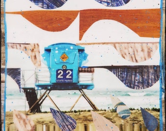 NEW, TOWER 22 CA, Giclee, 8x8 and Up, Ocean, Waves, Hand Painted, Collage, Lifeguard Tower, beach, California, Blues,Ocean Art, Wall Art