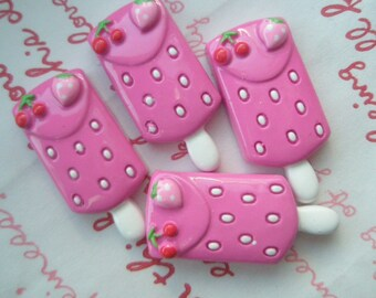 PINK strawberry and cherry ice cream Bar cabochons Set 4pcs