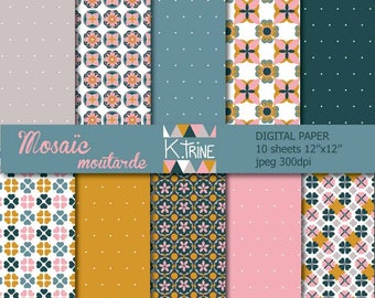Instant download! digital paper 10 sheets for scrapbooking, tag, invitation, creations.