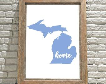 Michigan Wall Art, Printable Wall Art, Wall Decor, Wall Hanging, Art, Digital Download, Instant Download, Digital Print, Michigan Home Sign