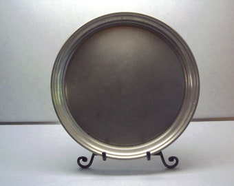 """Manning Bowman pewter platter, 11 3/4"""", made in USA"""