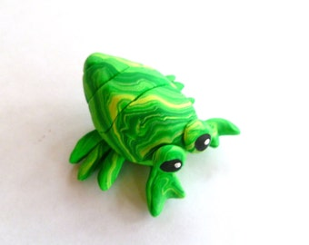 Mini Marble Friends-Happy Hermit Crab in Bright Green and Yellow Swirl