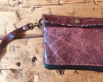 Clutch, Wristlet , Leather Wallet, Leather Bag, Anniversary gift, gift for her