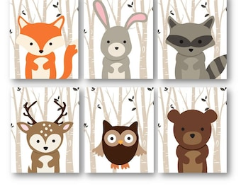 Woodland Nursery Art - Woodland Nursery Decor - Forest Animals - Forest Friends - Forest Nursery - Baby Boy Nursery Art - Fall Nursery Decor