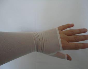 Vintage Ivory Semi Sheer Nylon Below Elbow Length Fingerless Gloves - 1950s - Size 6.5 to 7 - Wedding/Prom/Bridal/Burlesque/Revival