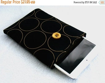 On Sale Now IPad Mini Case, Kindle Fire Cover, IPad Mini Cover, Kindle Fire Case, Kindle Fire 7 Cover, Nook Cover, Gold Circles on Black, 8