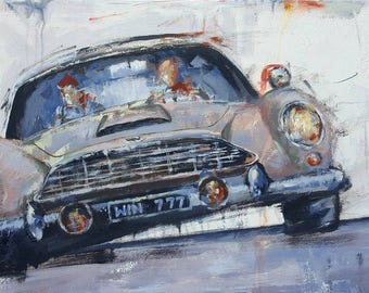 Original Modern Contemporary MENDOZA Classic vintage car oil on canvas painting