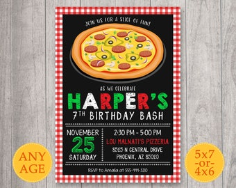 Pizza party Invitation, Pizza Birthday Invitation, Pizza Invitation, Pizza Party Invite, Pizza Birthday Party, Chalkboard, Pizza Boy Girl