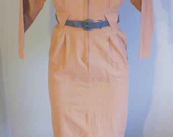 Vintage 60's Belted Apricot Zip Front Dress by David Benjamin size 6