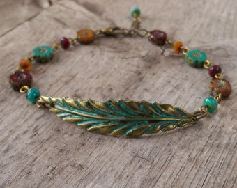 Leaf bracelet - Autumn Bracelet - Boho Jewelry - Bead Bracelet - Autumn Jewelry - Adjustable Bracelet - Womens Jewelry - Fall Leaf 2017