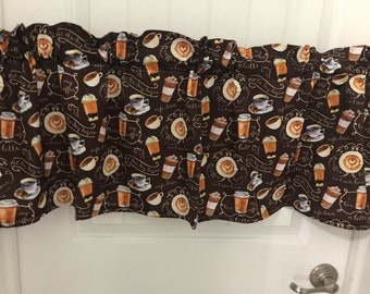 cup of Latte coffee kitchen curtain valance