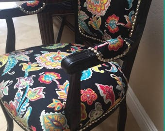 Tropical French Fauteuil Style Accent Chair