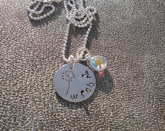 Make a Wish 11:11 Wish Flower Hand Stamped Sterling Silver Charm Necklace with Swarovski Crystal - Gifts for Her
