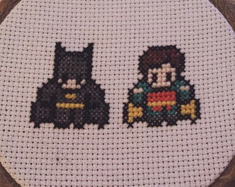Batman and Robin mini cross stitch