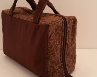 Classic Rich Brown Lunch Tote Opening Into a Tray.
