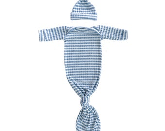 Knotted Baby Gown Nautical Blue and White Stripes