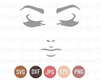 Eyelashes and Lips SVG Bundle Cut File, Makeup Svg, Dxf, Eps, Jpg, Png for Cricut, Silhouette, Clipart, Unicorn Lash, Pouty Eyes and Lips