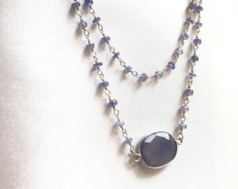 Rosary tanzanite necklace. Tanzanite rosarie necklace.
