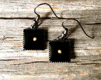 Mustard Seed Earrings - Gunmetal & Black Mustard Seed Earrings - Mustard Seed Dangly Earrings - Mustard Seed Jewelry - Black Faith Earrings