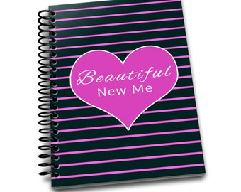 Beautiful New Me | Daily Food & Exercise Journal | 90 Days Meal and Activity Tracker | Become Beautiful | 6 x 9 | Food Journal | Pink Stripe