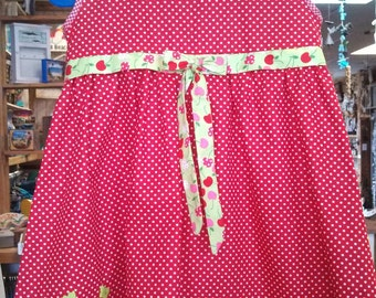 Gorgeous and Fun Red and White Polka Dot Dress with Butterflies and Cherries