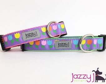 Purple Glitter Tulips Spring Dog Collar
