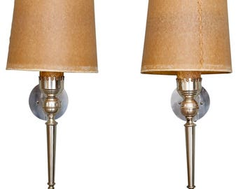 Pair Silver Tone Italian Neoclassical Sconces with Shades [6711]