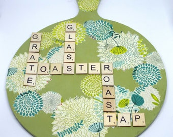 Green decoupage scrabble letter chopping board wall decoration