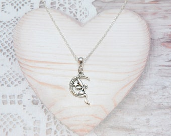 Necklace chain pendant fairy on Crescent Moon charm