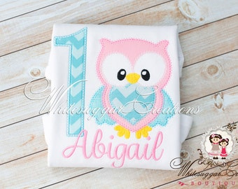 Owl First Birthday Outfit - Baby Girl 1st Birthday Shirt - Toddler Birthday Outfit, Baby First Birthday Outfit - Embroidered - Personalized