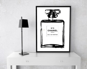 Chanel Perfume Bottle Watercolour, Art Print, Black, gold, Coco Chanel, no 5, number 5, mademoiselle, Watercolor, Fashion Illustration,