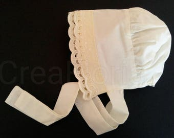 Ivory Cotton Embroidery Lace Fully Cotton Lined Handcrafted Baby Bonnet Hat 6-9  & 9-12 months