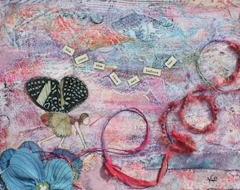 She Runs, 5x7 notecard of original mixed-media collage