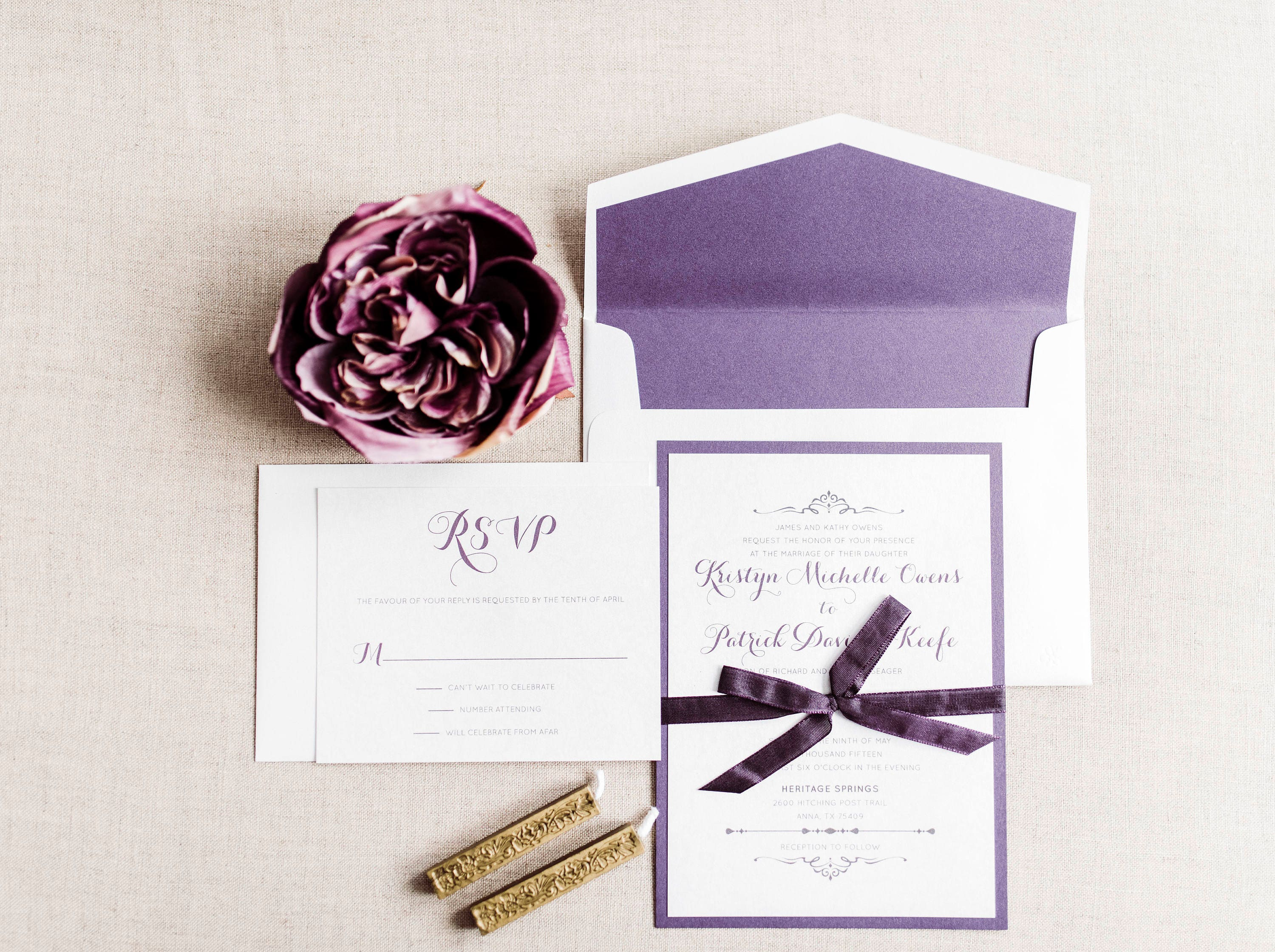5x7 Purple & Lace Layered Wedding Invitation with RSVP and Envelope ...