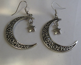 Silver Crescent Moon with a Silver Star Earrings