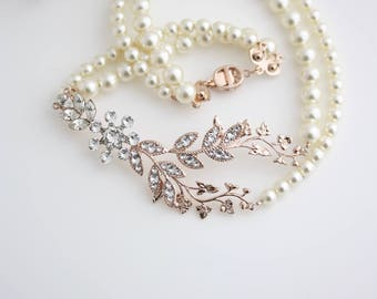 Rose Gold Bridal Necklace Leaf Wedding Necklace Art Deco Crystal Pearl Wedding Jewelry Double Strand Pearl Necklace NEVE