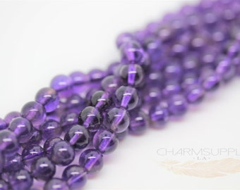 Natural Amethyst Round 5.5-6mm FULL STRAND SP05-003