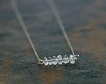 April Birthstone Necklace, White Topaz Necklace, Birthstone Jewelry, White Topaz Line Necklace, Birthstone Line Necklace, Birthday Necklace