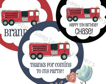 Firetruck Thank You Stickers Personalized Fireman Party Theme Labels