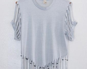 fringed & beaded tshirt - M