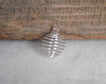 Large Silver Plated Wire Spiral Cages To Make Your Own Stone or Bead Necklace Pendant - 25mm x 20mm