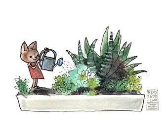 Cat Girl Watering Succulents -- Digital Watercolor Print