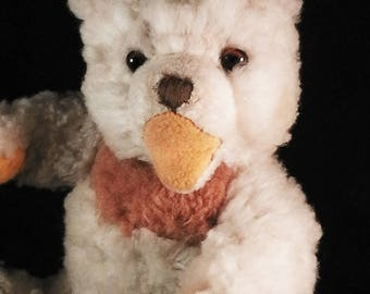 Vintage teddy bear, Zotty, white,  Hermann Zotty, plush, Germany, circa 1950s