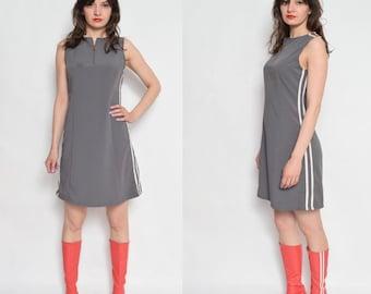 Vintage 90's Khaki Dress With Side Stripes / Sleeveless Midi Dress