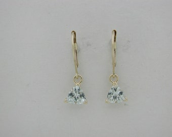 Natural Aquamarine Dangle Earrings Solid 14kt Yellow Gold
