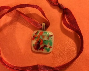 """Fused Glass Jewelry - Fused glass necklace; square teal/rust/orange mosaic fused glass pendant. 1"""" square. Free shipping. (P13)"""