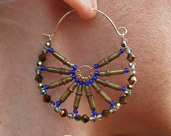 Swarovski Crystal-Ethiopian Brass-Hoop-Earrings / Free US Shipping