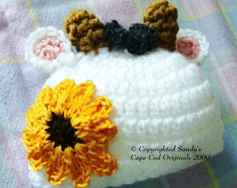 Baby Calf Beanies Infants to Adults Crochet Pattern PDF 613 Great for Photo Props